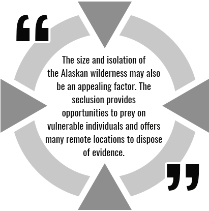 "A quote related to Alaskan murders: ""he size and isolation of the Alaskan wilderness may also be an appealing factor. The seclusion provides opportunities to prey on vulnerable individuals and offers many remote locations to dispose of evidence."""