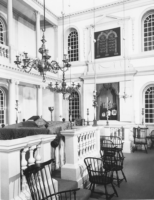 The interior of the Touro Synagogue. Reprinted from Jews of Rhode Island by Geraldine S. Foster, Eleanor F. Horovitz, and Judith Weiss Cohen courtesy of John Hopf (pg. 10, Arcadia Publishing, 1998).