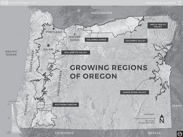 Some of Oregon's wine-producing regions. Reprinted from Oregon Wine Country Stories: Decoding the Grapes by Kenneth Friedenreich (pg 89, The History Press, 2018).