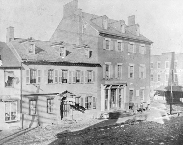 The historic Gadsby's Tavern in 1878. Reprinted from Gadsby's Tavern by Gretchen M. Bulova courtesy of ALSC (pg. 15, Arcadia Publishing, 2015).